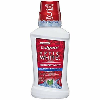 Colgate Optic White Whitening Mouthwash, Icy Mint , 8 Fl Oz