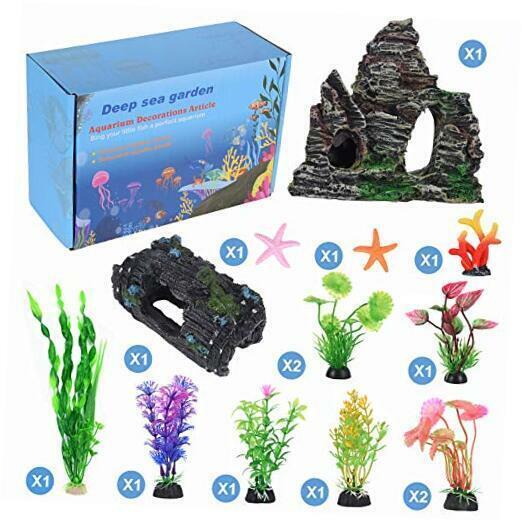 14 Pack Aquarium Fish Tank Decorations Accessories Decor Set Aquarium