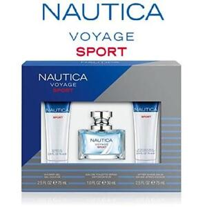 NEW MEN'S 3PC NAUTICA SET 157326575 VOYAGE SPORT PERFUME COLOGNE BEAUTY FRAGRANCE SCENTS