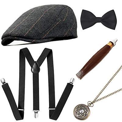 Gatsby Mens Attire (Mens 1920s 20s Gangster Set Hat Braces Tie Cigar Gatsby Costume)