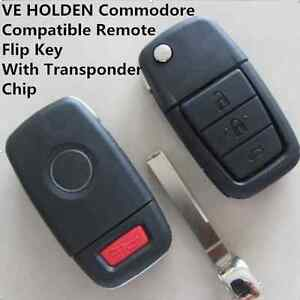 VE HOLDEN Commodore Compatible Remote Flip Key Shell With Transponder Chip