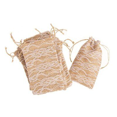 Burlap & Lace Drawstring Favor Bags - Set of 12 (Lace Favor Bags)