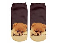 Printed Animal Women Casual boat Socks (dog pattern) **Brand New**