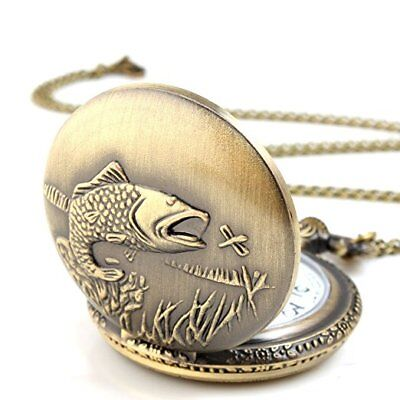 Unisex Antique Case Vintage Brass Rib Chain Quartz Pocket Watch Steampunk Fish Brass Quartz Pocket Watch