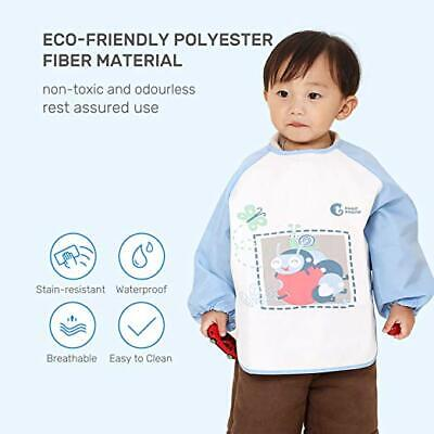 US Baby Waterproof Toddler Bib with Pockets Soft Long Sleeved for Children Blue