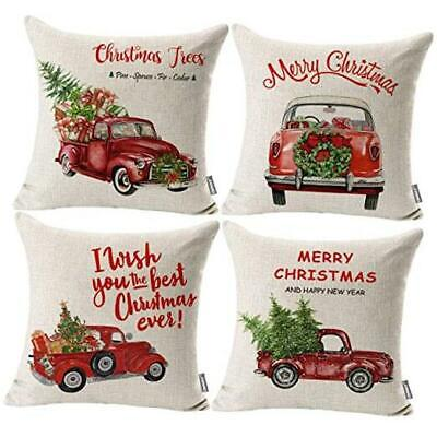 Red Truck Christmas Throw Pillow Covers 18x18 Set of 4 Outdoor Christmas Decor