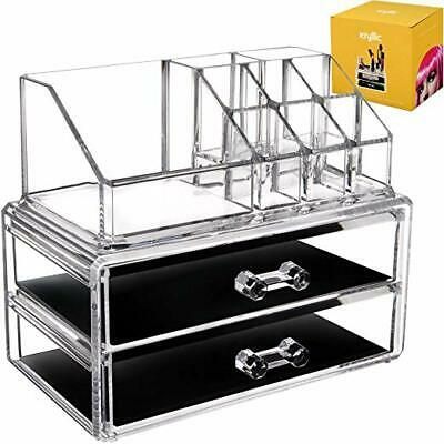 Acrylic Vanity Makeup Storage Organizer - Clear 2 Bottom Case Drawers