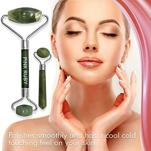 Pink Ruby Beauty Double Jade Roller Anti Aging Facial Massager | Skincare Therap 5