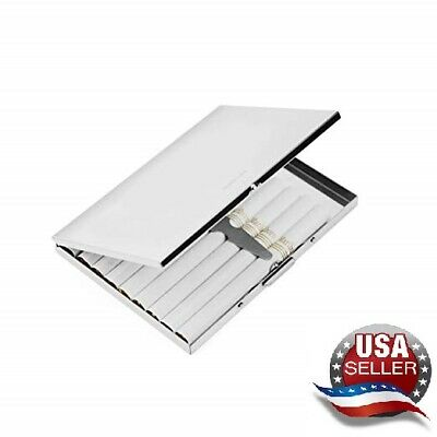 - US Stainless Steel Metal Silver Light Cigarette Case Holds 9 Cigarettes Gift