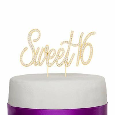 Sweet Sixteen 16 Cake Topper - Gold 16th Sixteenth Birthday Decoration (Gold) 16 Birthday Cake