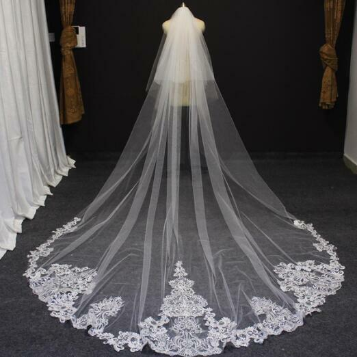 2-Layer Lace Exquisite Applique Wedding Veils Cathedral White/Ivory Bridal Veil