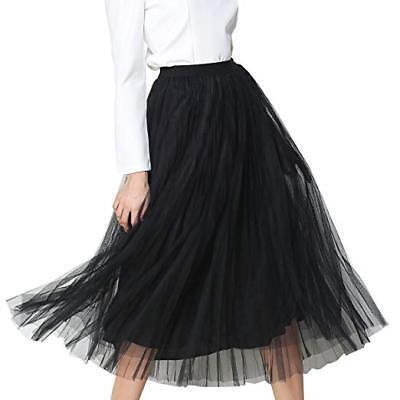 Black Tutu Womens (NWT Womens Anjerai Sugar A Line Mesh Tutu Tulle Mesh Skirt Black One Size)