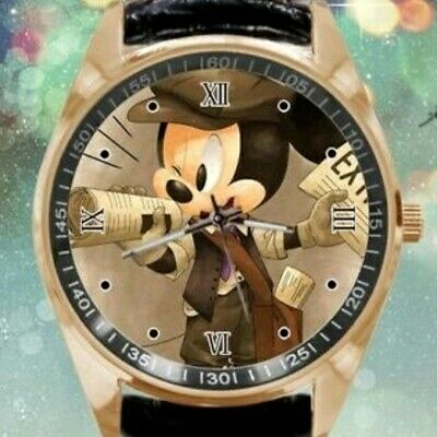 Cute Newspaper Mickey Mouse Goldtone Quartz Watch W/Black Leather Band