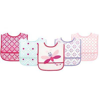 Luvable Friends Baby Girls Pink Dragonfly 5 Pack Waterproof Bibs