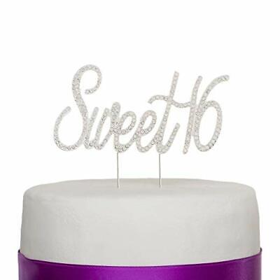 Sweet Sixteen 16 Cake Topper - Rhinestone 16th Sixteenth Birthday Decoration  16 Birthday Cake