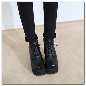 Women's Chunky Thick Sole Platform heels Lace Up Punk ankle boots shoes 2-6