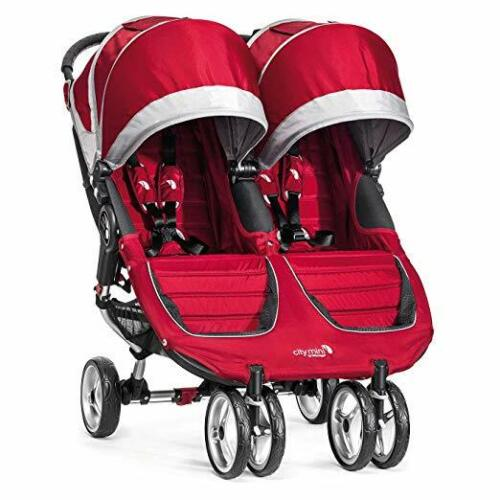 Baby Jogger City Mini Double Twin Stroller,  Crimson/Gray