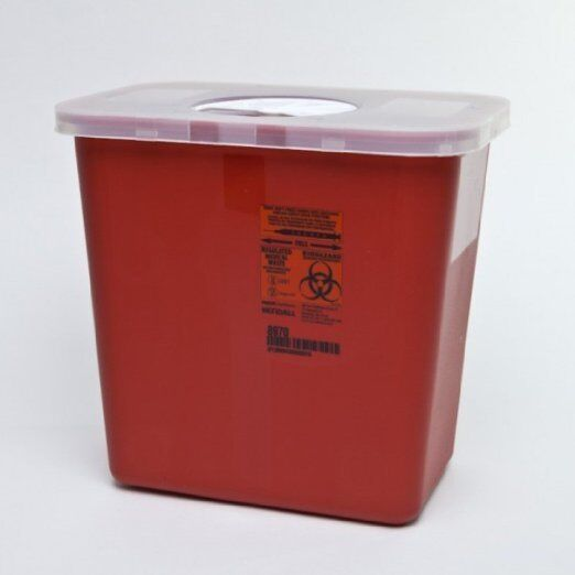 LOT OF 2 - Sharps Needle Container, 2 Gallon, 1-Piece, Rotor Lid, Nestable, 8970