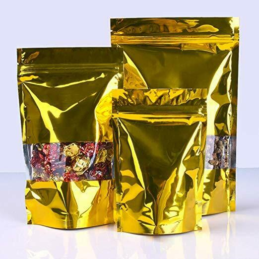 Silver//Gold Stand Up Zip Bags Aluminum Mylar Foil Lock Package Pouch With Window