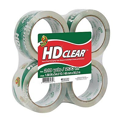 Duck Hd Clear High Performance Packaging Tape 1.88 X 54.6 Yards 4 Pack 240378