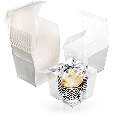 Clear Party Favor Boxes Food Grade PET Pre-Folded in 25 unit package 3