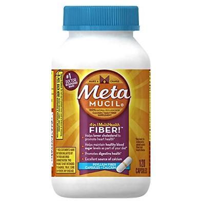 Fiber Supplement Plus Calcium - Metamucil Daily Fiber Supplement Plus Calcium, Psyllium Husk, 120 Capsules
