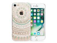 iPhone 7 Case - White/Turquoise Mandala Pattern, Slim, lightweight, soft, flexible & Protective NEW