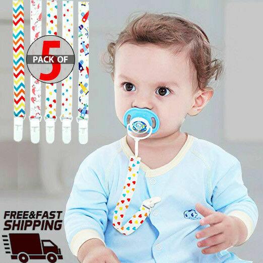 Pacifier Clip 5-Pack Premium Quality Baby Pacifier Holder Un