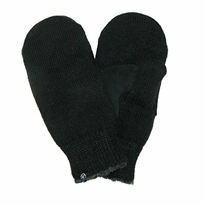 Chenille Suede - Isotoner Ladies BLACK Knit Mittens Suede Grips Palm Chenille Fleece Lined NEW