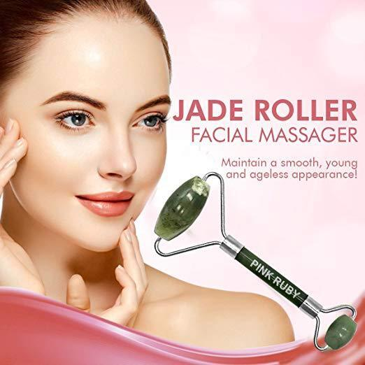 Pink Ruby Beauty Double Jade Roller Anti Aging Facial Massager | Skincare Therap 4