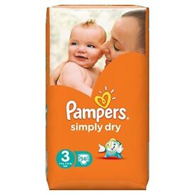 *BRAND NEW SEALED* Pampers Simply Dry Nappies Size 3 Large Pack - 56 Nappies
