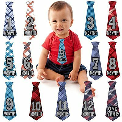 Baby Boy Monthly Necktie Milestone Stickers New Ties Tie Shower Gift Months 1 12