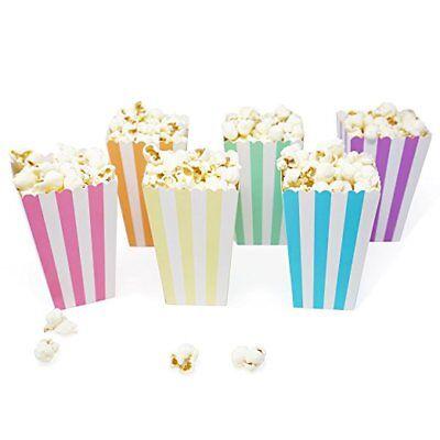 36 Unicorn Pastel Rainbow Stripe Mini Popcorn Candy Party Favor - Mini Popcorn