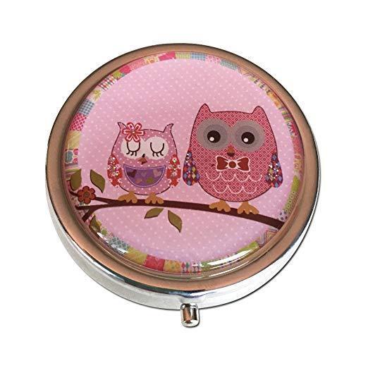 Pretty Owls Silver Three Compartment Round Pocket/Purse/Trav