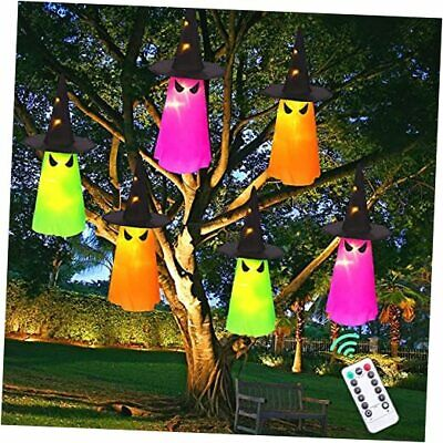 Halloween Decorations Outdoor 6Pcs Hanging Lighted Glowing Ghost Hat
