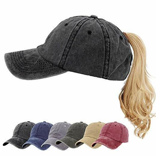Summer Ponycap Ponytail Baseball Cap High Bun Ponytail Adjustable Cotton Washed Clothing, Shoes & Accessories