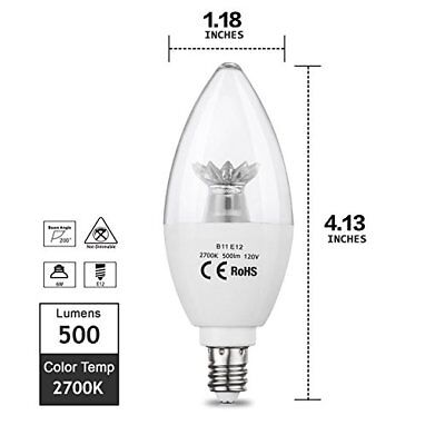 Candle LED Light Bulb 6W(60W Equivalent) Daylight Warm White for Ceiling Fan