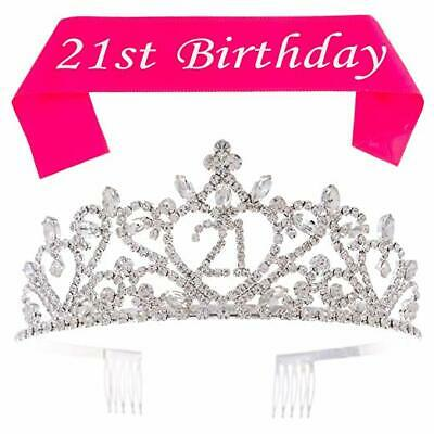 21 Tiara and Sash 21st Birthday Party Supplies Accessories, Silver Heart Set