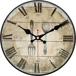 Home Wall Clock,Vintage Style Tableware Design Wooden 12 Inch Large Numerals