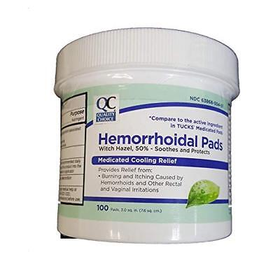 Hemorrhoidal Pads - 3 Pack Quality Choice Hemorrhoidal Pads Medicated Cooling Relief 100 count each