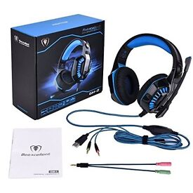 GM-2 Gaming Headset for PS4 Xbox One PC 3.5mm Stereo Gaming LED Lighting Over-Ear Headphone with Mic