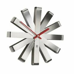 Umbra, Stainless Steel Ribbon Modern 12-inch, Battery Operated Quartz Movement,