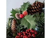 3 set red berry and pine cone Christmas decorations (Garland/Pre Lit Hanging Basket/Pre Lit Wreath)