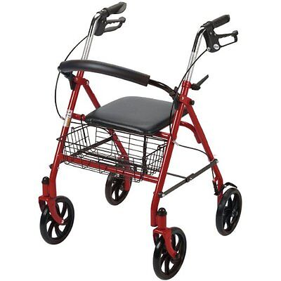 Elderly Walker Transport Aid Medical Rollator Seat Rolling Folding Drive Chair