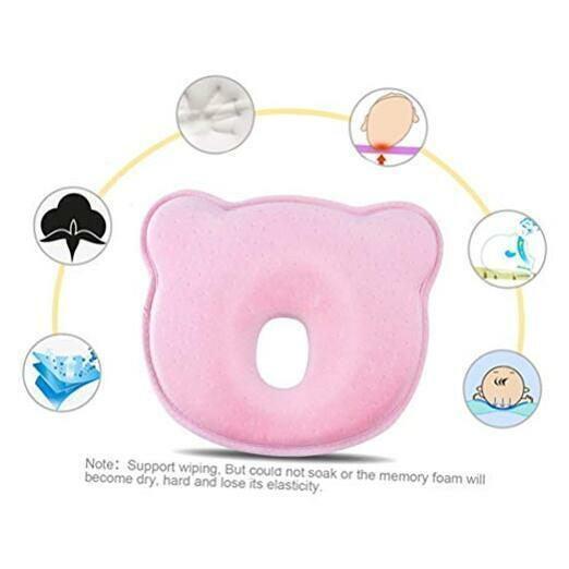 Newborn Baby Head Shaping Pillow (Memory Foam Cushion) Preventing Baby Pink
