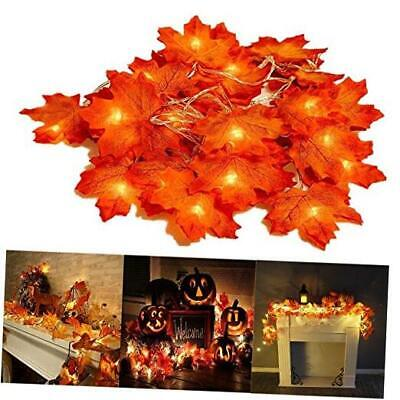Thanksgiving Decorations Lighted Fall Garland, 20 LED Maple Leaf String Lights,