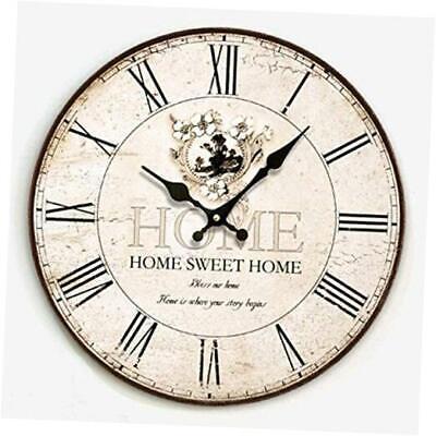 """12"""" Wooden Rustic Wall Clock, Frameless Retro Round Decor Farmhouse Clock Silen"""