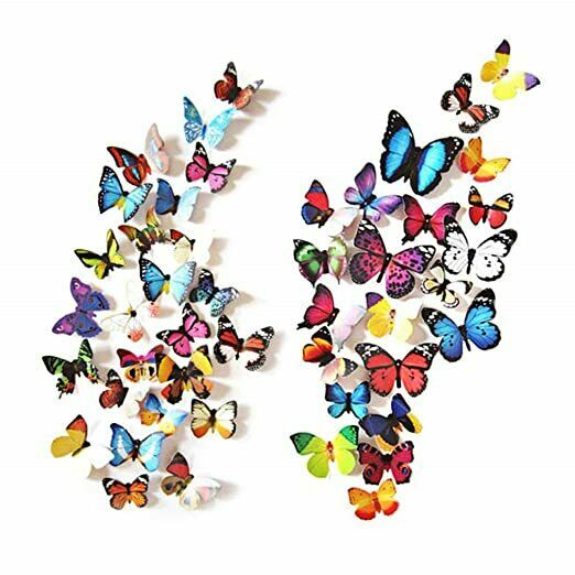 80 PCS 3D Butterfly Wall Room Decor Decorations For Teen Girls Bedroom