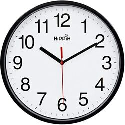 Black Wall Clock Silent Non Ticking Quality Quartz, Battery Operated 10in Round