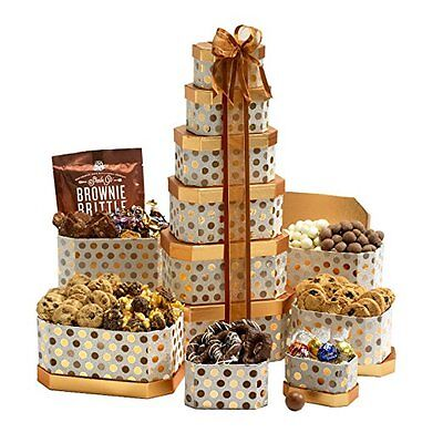 Chocolate Snacks Cookies Nuts Brownie Top Gift Tower Box Basket Birthday Holiday
